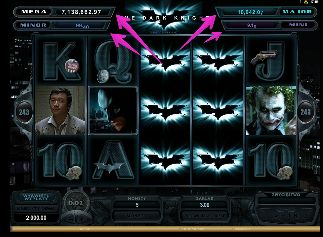Jackpoty Online - Automat do Gry Dark Knight