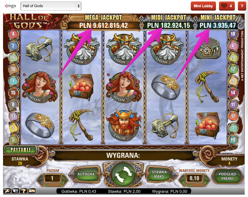Jackpoty Online - Automat do Gry Hall of Gods