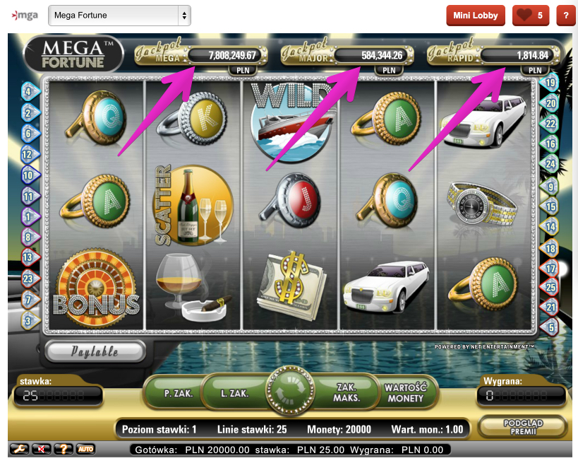 Jackpoty Online - Automat do Gry Mega Fortune