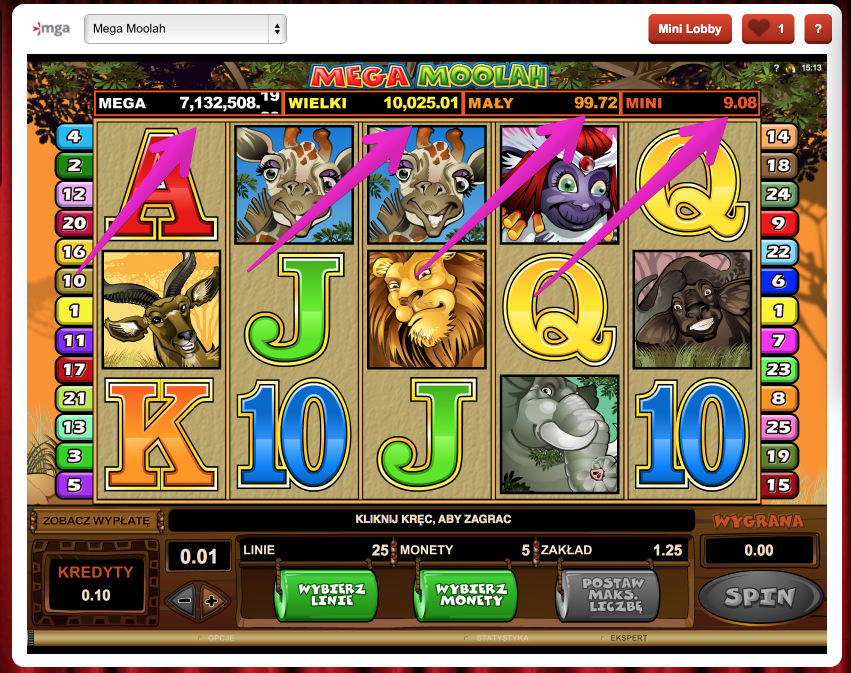 Jackpoty Online - Automat do Gry Mega Moolah